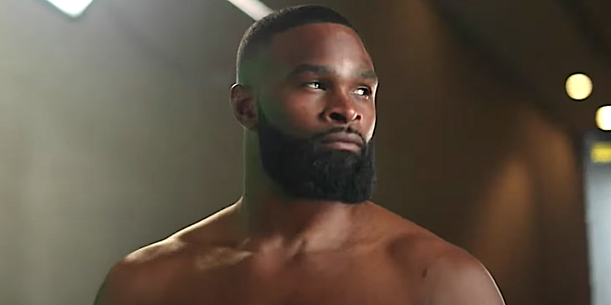 Tyron Woodley looks intensely away from the camera.