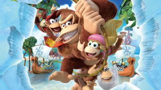 Donkey Kong, Diddy Kong, Dixie Kong and Kranky Kong swinging on a vine