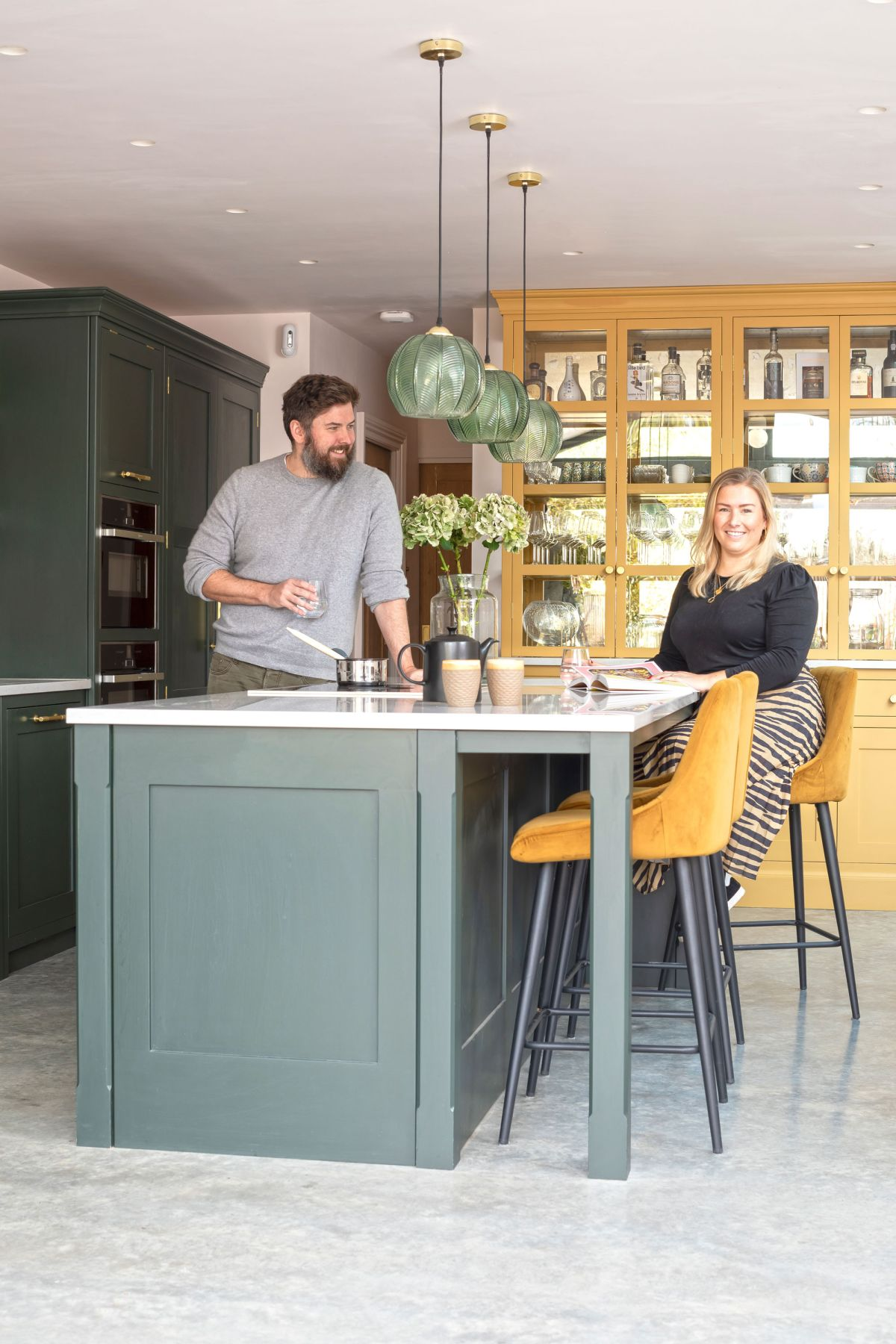 Colourful kitchen is primed for parties.