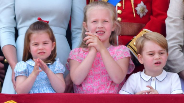 The Queen's great-grandchildren Prince George Princess Charlotte and Savannah Phillips at Trooping the Colour 2019