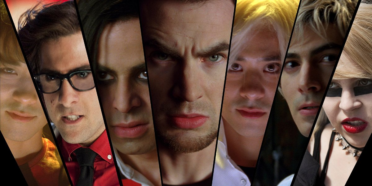 The League of Evil Exes, all pictured in a row, in Scott Pilgrim vs. The World.