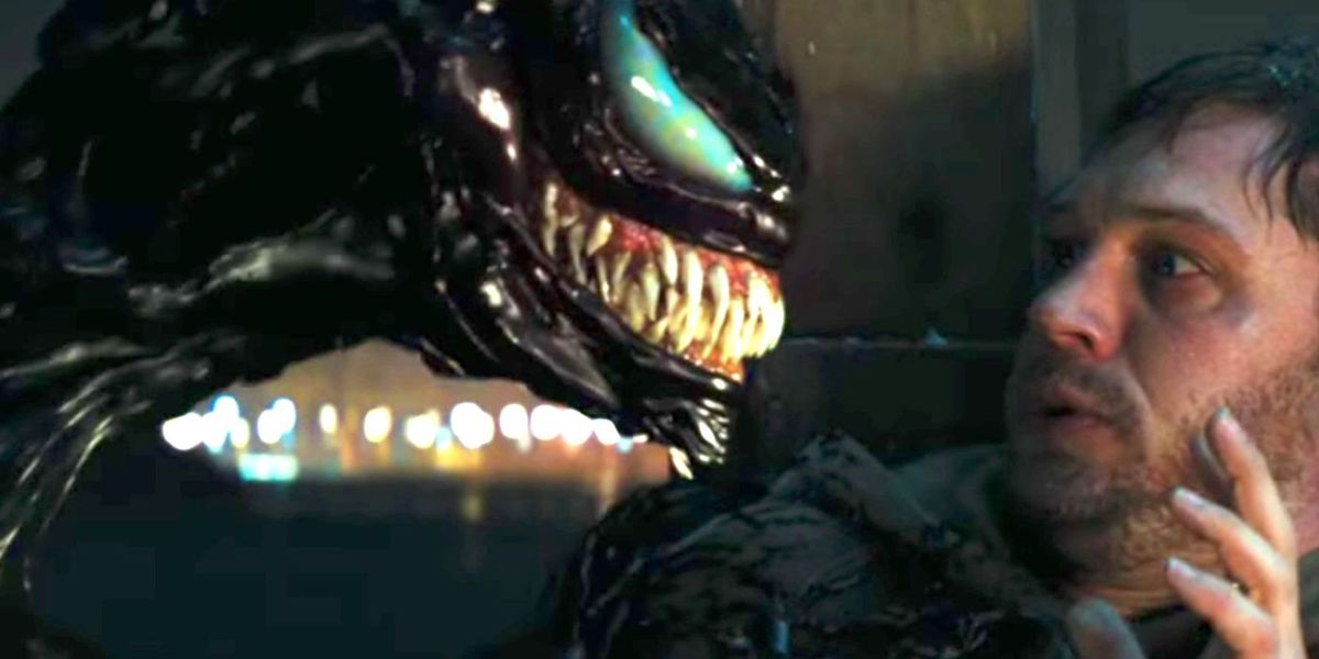Venom and Tom Hardy in 2018 movie