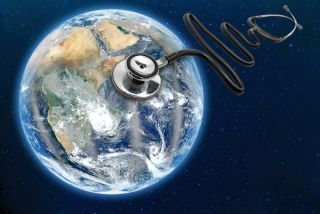 A conceptual image shows a stethoscope over the Earth.