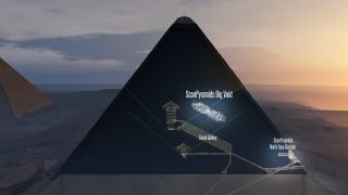 illustration of a void found within the Great Pyramid of Giza.