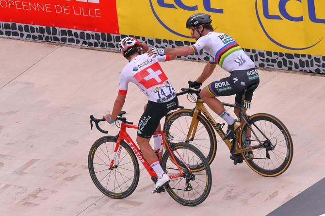 Peter Sagan and Silvan Dillier after crossing the finish line at Paris-Roubaix