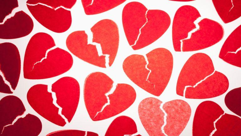 collage of broken hearts