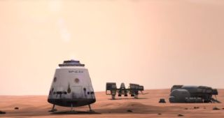 SpaceX's manned Dragon spacecraft could make a human colony on Mars possible as shown in this still image from a SpaceX video. The private spaceflight company has targeted manned Mars exploration as a long-range goal.