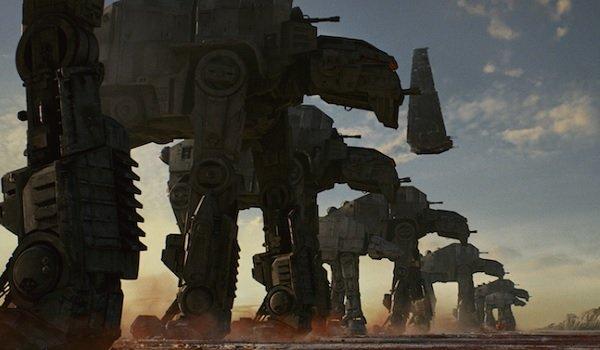 Star Wars: The Last Jedi walkers approaching the Resistance base