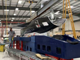 An image tweeted by Stratolaunch shows half a prototype skin for he company's Talon-A reusable hypersonic vehicle.