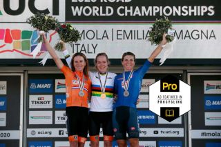 Annemiek van Vleuten, Anna van der Breggen and Elisa Longo Borghini on the Worlds podium in 2020