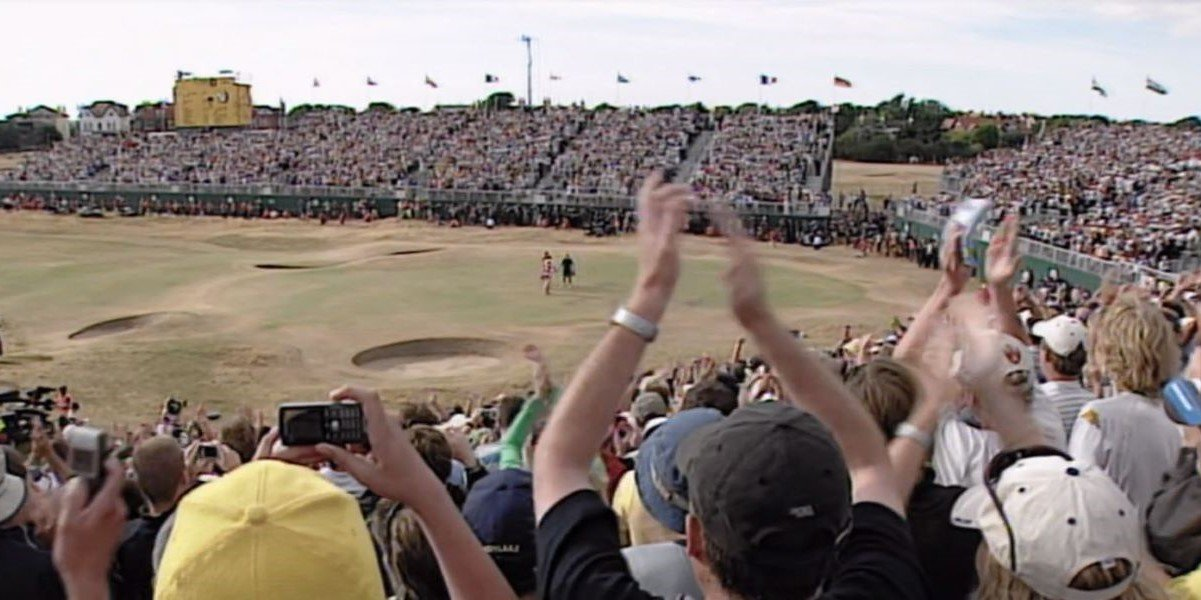 British Open crowd cheering on Tiger Woods