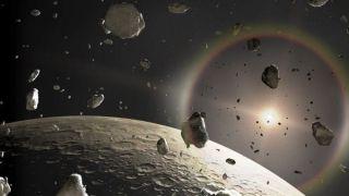 Artist's impression of Kuiper Belt objects.