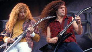 Megadeth's Dave Mustaine and Marty Friedman performing live on stage