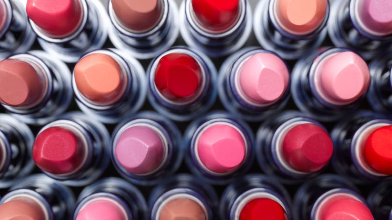 birds eye view of lipsticks