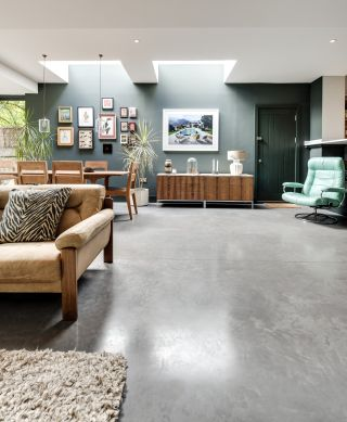 Polished concrete floor in contemporary house