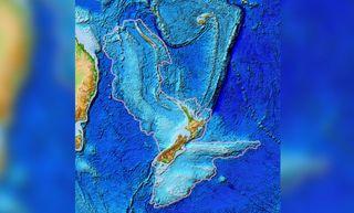 topographic map of Zealandia.