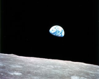 The iconic 'Earthrise' image was captured by astronauts during NASA's Apollo 8 mission on Dec. 24, 1968.