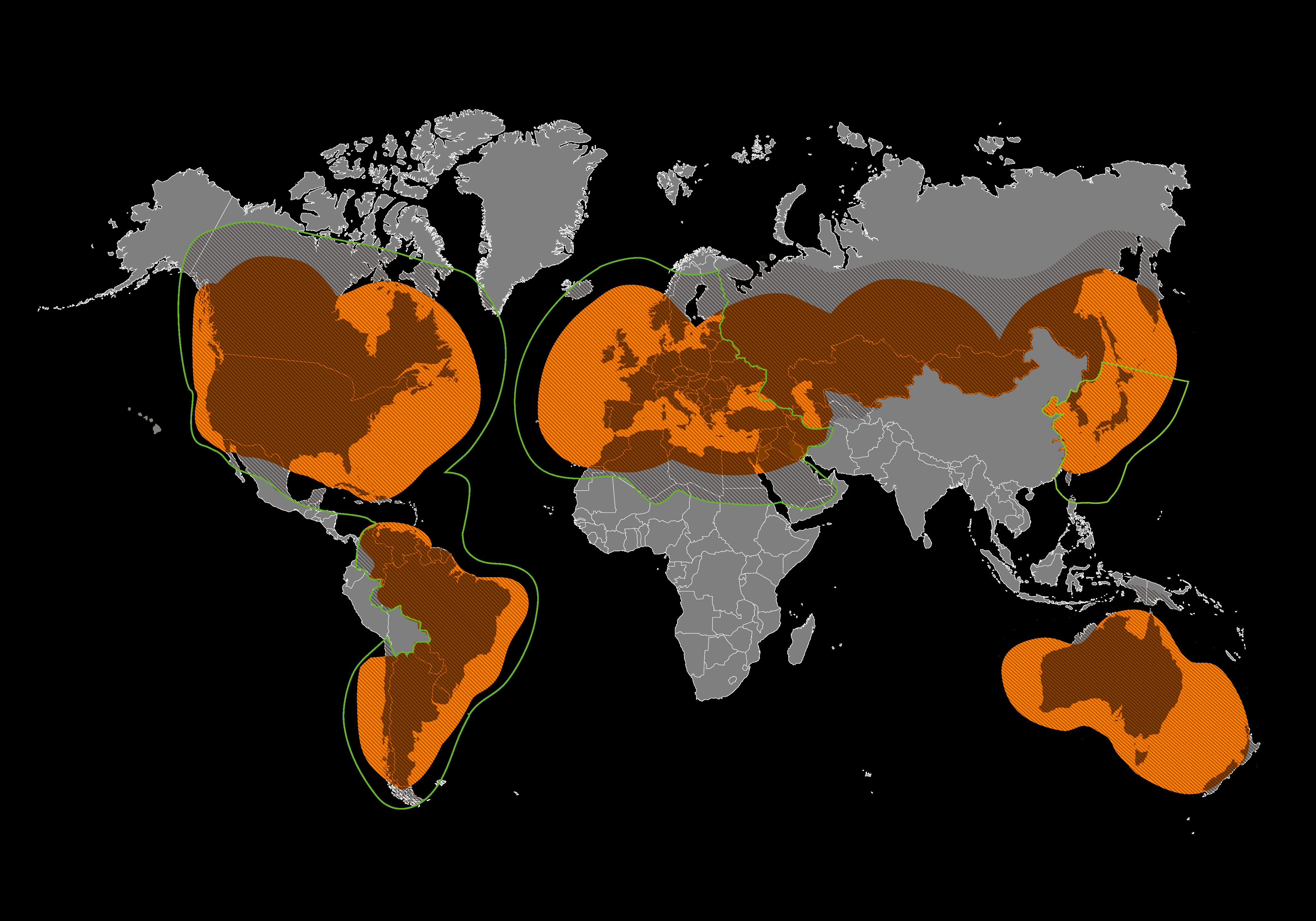 Mapa de cobertura de Globalstar تغطية