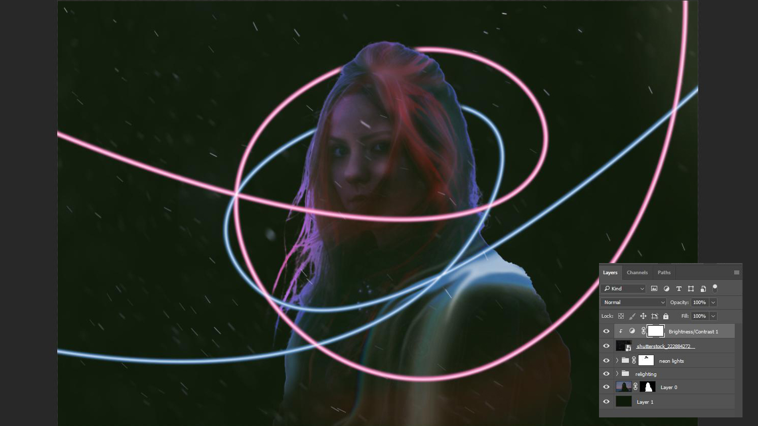 Image of woman with neon lines around her, with Photoshop layers named
