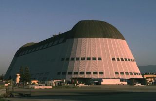 The historic Hangar One at California's Moffett Field, photographed in 1999.