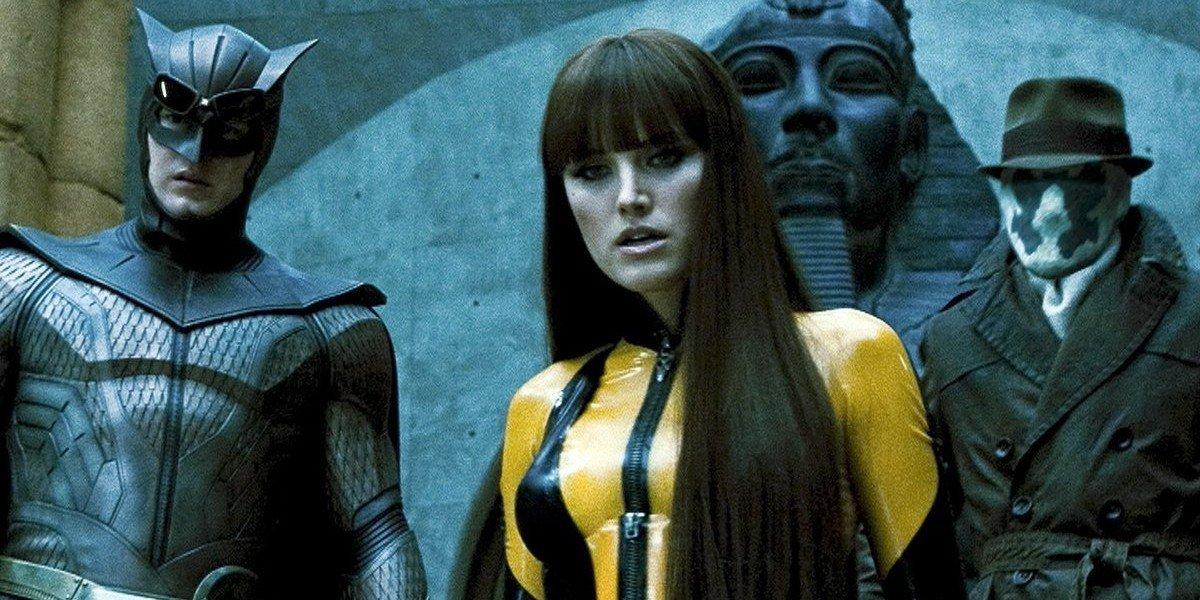 Patrick Wilson as Owlman, Malin Åkerman as Silk Spectre and Jackie Earle Haley as Rorschach