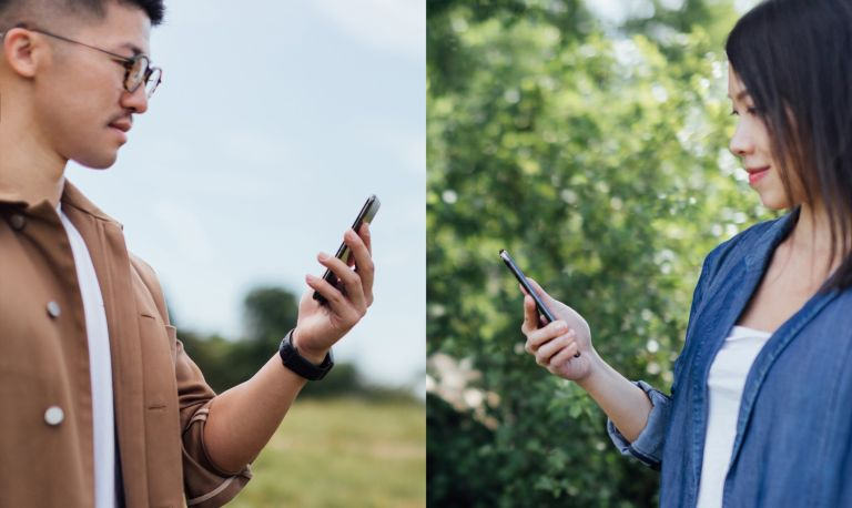 Concept of young Asian couple use dating app on smartphone at different places