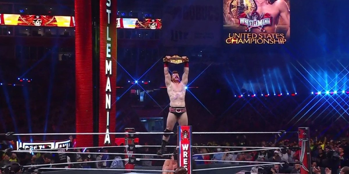 Sheamus after defeating Riddle at WrestleMania 37