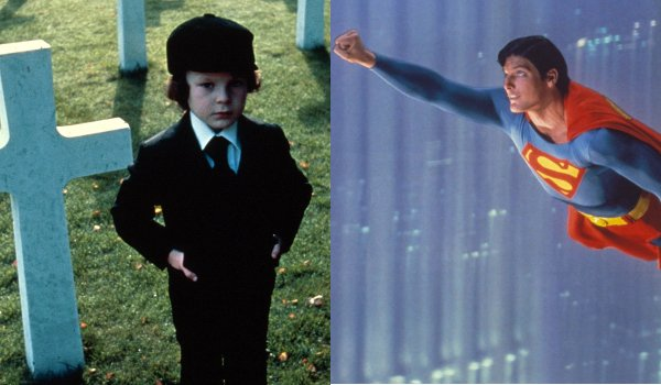 The Omen Damien stands in the graveyard Superman The Movie Superman flies into the sky