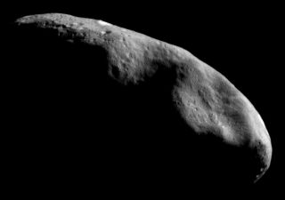 This photo of the asteroid Eros was taken during the NEAR Shoemaker mission.