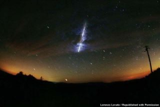 Italian astrophotographer Lorenzo Lovato photographed this spectacular fireball from the 1998 Leonid meteor shower on Nov. 17, 1998.
