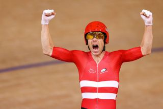 Michael Morkov celebrates winning the men's Madison