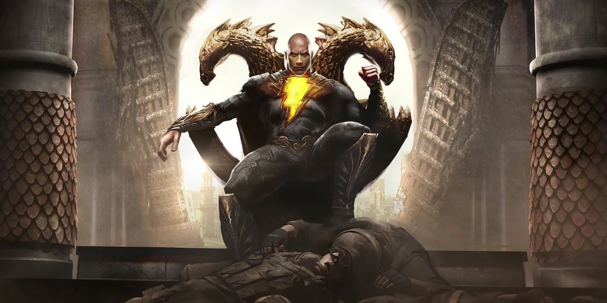 Dwayne Johnson's Black Adam sitting on throne