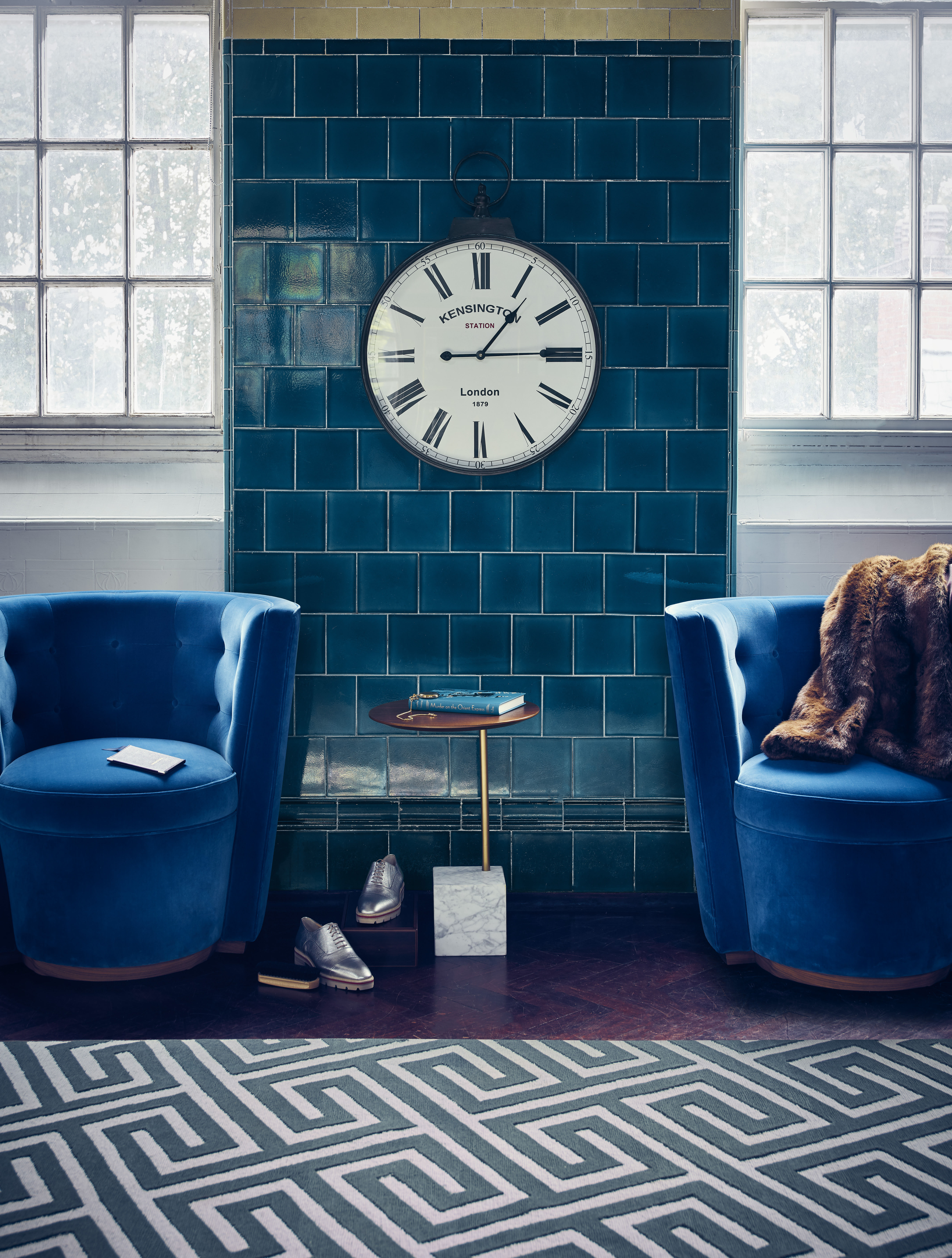 40dbfb854876 Pocket Watch wall clock, £70, The Orchard at notonthehighstreet.com. Deco  velvet tub chairs in Royal Blue, £3,500 each, Linley. Cube side table,  £199, ...
