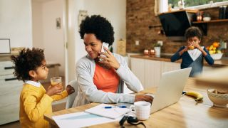 woman using voip at home