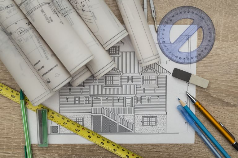 Cost of an extension: Architectural plans by Shutterstock