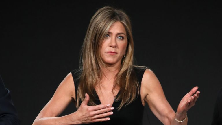 """Jennifer Aniston relationship deal-breaker, Jennifer Aniston of """"The Morning Show"""" speaks onstage during the Apple TV+ segment of the 2020 Winter TCA Tour at The Langham Huntington, Pasadena on January 19, 2020 in Pasadena, California"""
