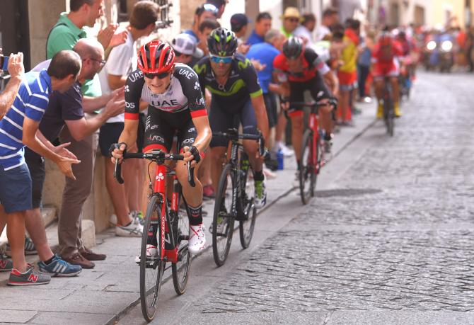 Matej Mohoric ( UAE Team Emirates) drives to the line during stage 7 at the Vuelta