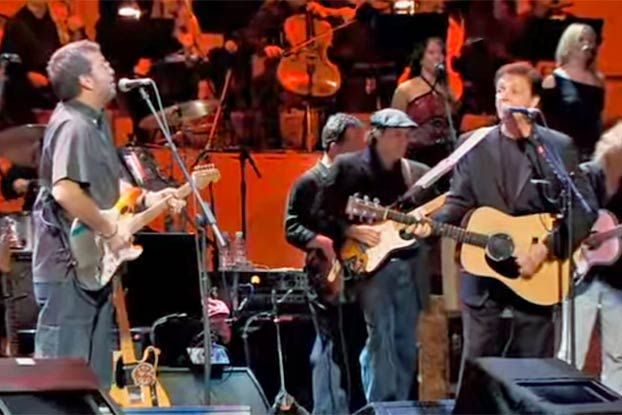 "Watch Eric Clapton, Paul McCartney and Ringo Starr Perform ""Something"""