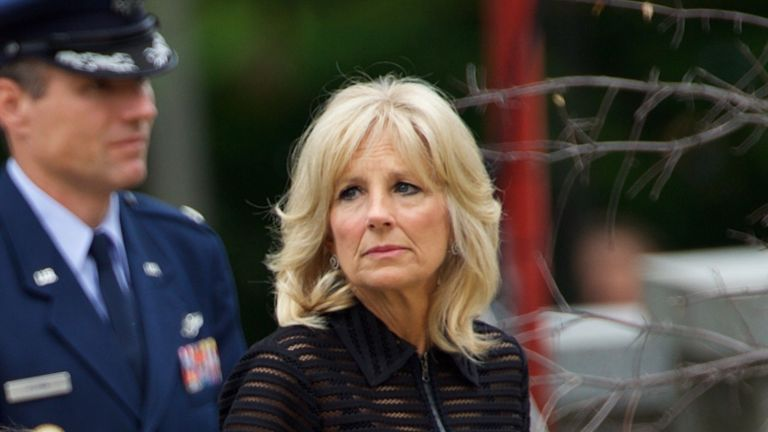 WILMINGTON, DE - JUNE 6: U.S. Vice President Joe Biden (C) and his wife Dr. Jill Biden (R) arrive with family for a mass of Christian burial at St. Anthony of Padua Church for there son, former Delaware Attorney General Beau Biden, on June 6, 2015 in Wilmington, Delaware. U.S. President Barack Obama is expected to deliver a eulogy for the son of Vice President Joe Biden after he died at 46 following a two-year battle with brain cancer. (Photo by Mark Makela/Getty Images)