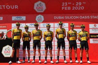 Jumbo Visma Team of Netherlands pose before the start of the first stage of the UAE Tour from the Pointe to Silicon Oasis in Dubai on February 23 2020 Photo by Giuseppe CACACE AFP Photo by GIUSEPPE CACACEAFP via Getty Images