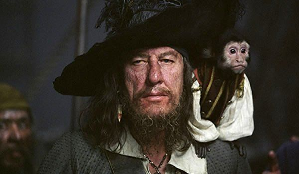 geoffrey rush captain barbossa and monkey pirates of the caribbean