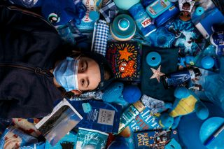Blue coloured portrait