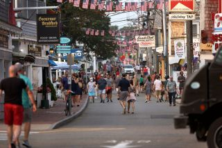 Foot traffic in Provincetown, Massachusetts on July 20, 2021. A recent COVID-19 outbreak in the area has led to hundreds of infections, including many among fully vaccinated people.