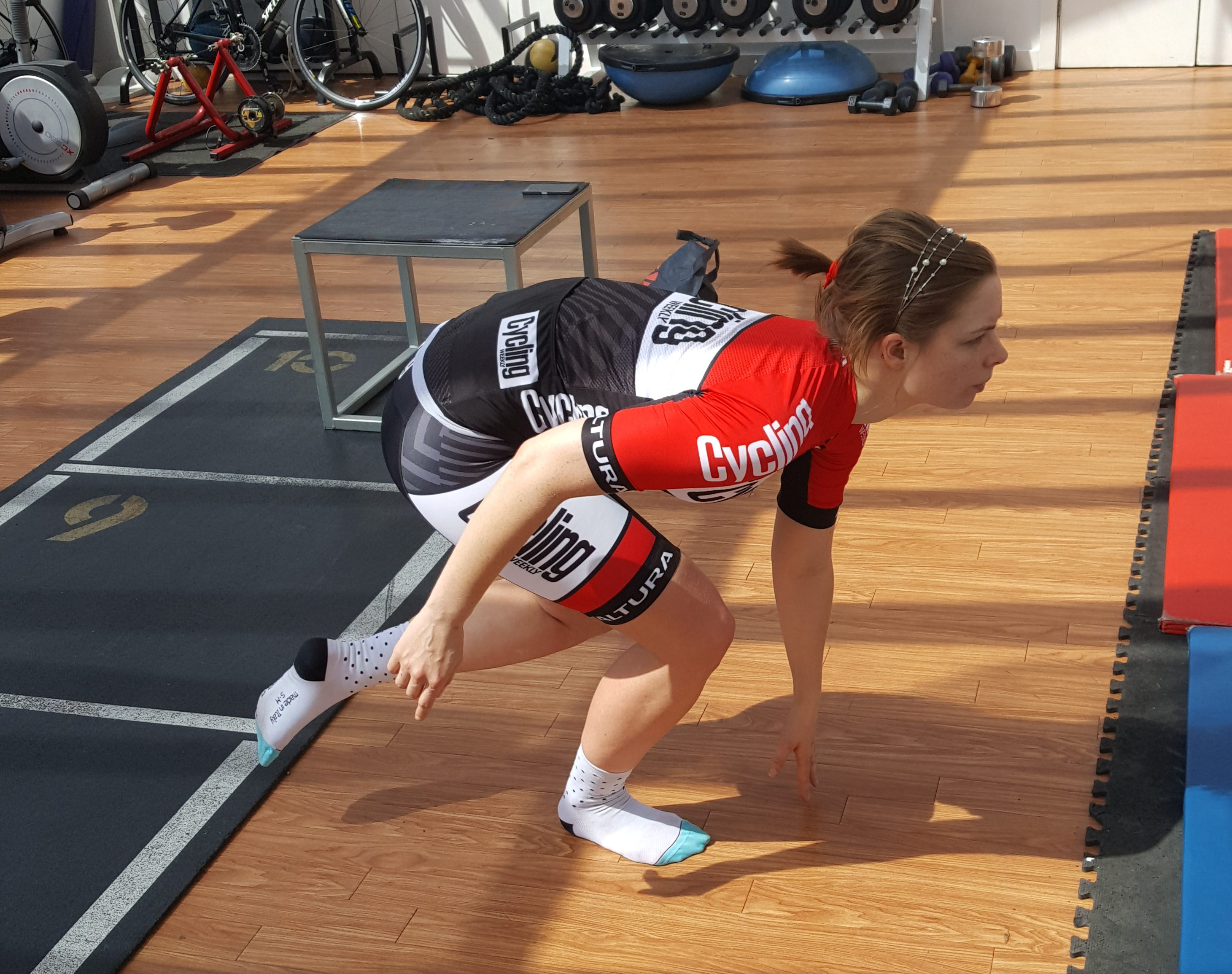 """... down – adding """"over time, you can do this loaded with a bar – but you need to get proper form with the knee tracking straight – and not inwards – first."""