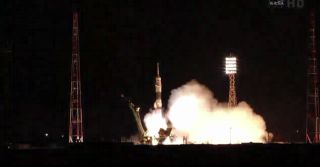 A Russian Soyuz TMA-21 spacecraft, named for famed cosmonaut Yuri Gagarin - the first human in space - launches from Baikonur Cosmodrome in Kazakhstan on April 4, 2011 at 6:18 p.m. EDT.