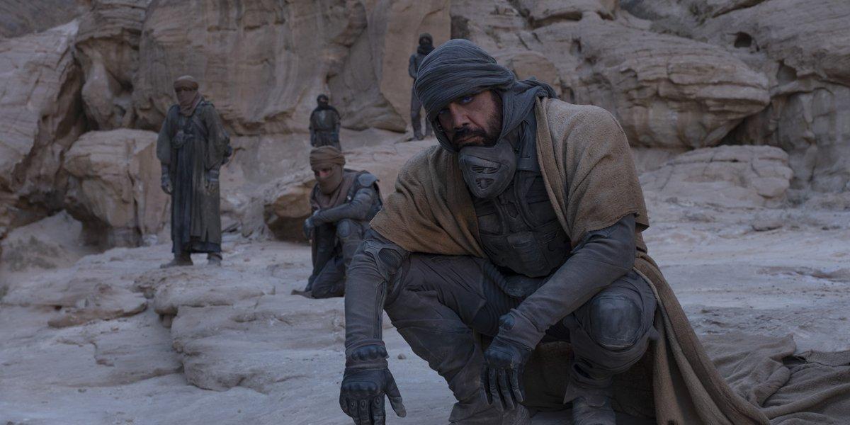 Stilgar (Javier Bardem) with the Fremen in Dune