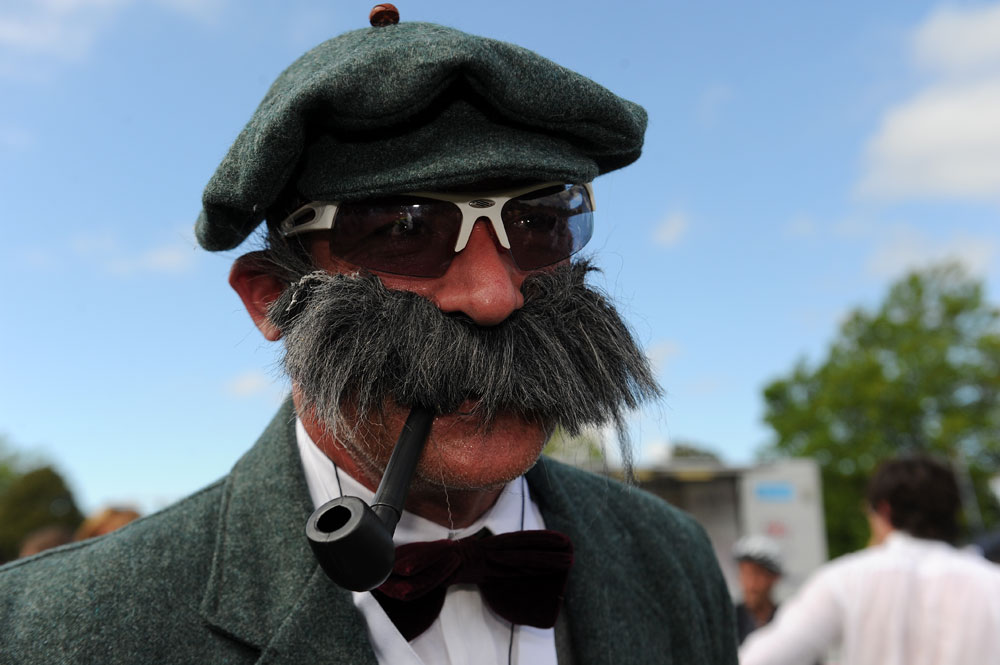 Moustache man, Brompton world champs, Bike Blenheim Palace 2011, August 21 2011