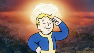 An illustration of Vault Boy saluting before a nuclear mushroom cloud.