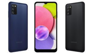 Press renders showing the Samsung Galaxy A03s in black and blue shades