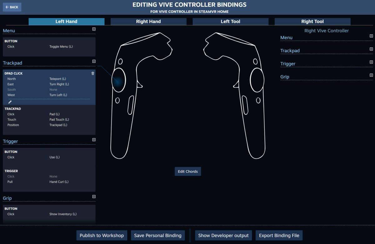Valve now lets you map your own custom controller bindings in SteamVR